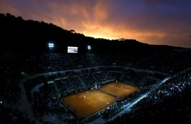 The central court is seen during the women's quarter-final match between Maria Sharapova of Russia and Victoria Azarenka of Belarus at the Rome Open tennis tournament in Rome, Italy, May 15, 2015. REUTERS/Stefano Rellandini